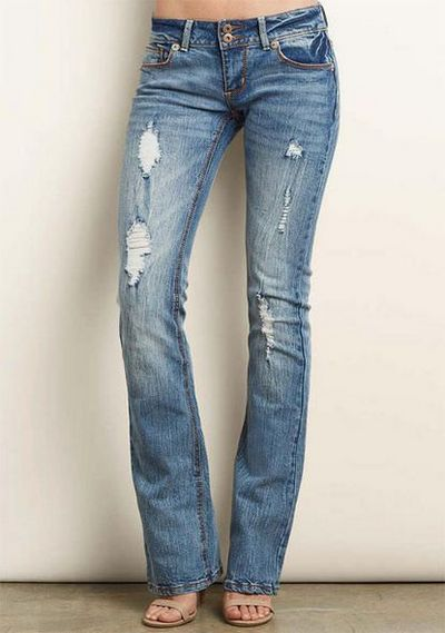 Low rise boot cut jeans